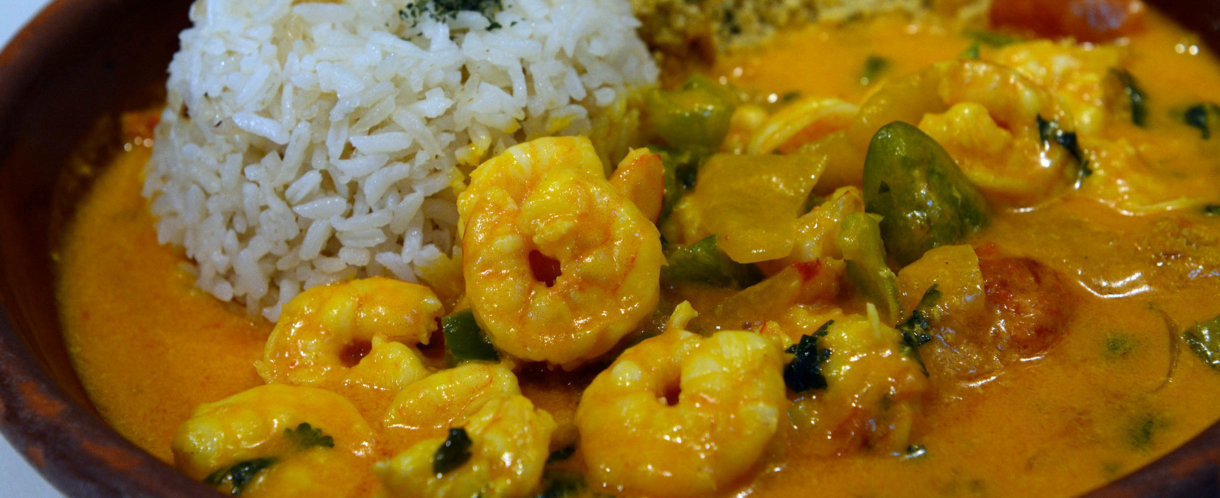 Shrimps with coconut and rice is a typical Brazilian dish.